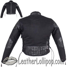 Kids Black Denim and Leather Biker Jacket with Side Laces - SKU LL-KD345-DL