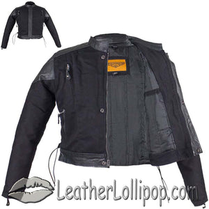 Kids Black Denim and Leather Biker Jacket with Side Laces - SKU LL-KD345-DL - Leather Lollipop