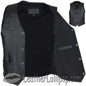 Kids Black Leather Motorcycle Vest with Plain Sides - SKU LL-KD390-DL