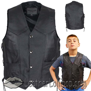 Kids Black Leather Motorcycle Vest with Side Laces - SKU LL-KD392-DL