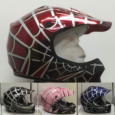 DOT Kids ATV - Dirt Bike - Motocross Helmets - Pink - Black - Blue - Red / SKU GRL-DOTATVKIDSSPIDER-HI