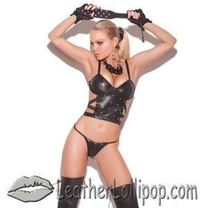 Ladies Leather Cami Top and G-String Set With Nail Heads - SKU LL-L1925-EML