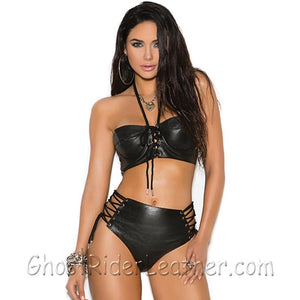 Ladies Leather Top With Underwire Cups and Leather Booty Shorts - SKU GRL-L4279-L7137-EML