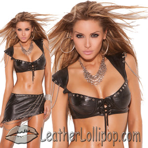 Ladies Bra Top With Underwire Cups With Nail Heads and Chain Detail - SKU LL-L4890-EML