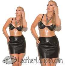 Ladies Leather Spanking Skirt With Buckle Closure - SKU LL-L6118-L6118X-EML