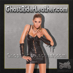 Ladies Lace Up Leather Mini Dress / SKU GRL-L8103-EML