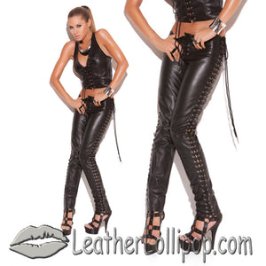 Ladies Leather Pants With Lace Up Sides - SKU LL-L9119-EML