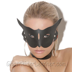 Ladies Leather Cat Mask - 50 Shades of Grey Style - SKU GRL-L9156-EML