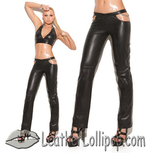 Ladies Leather Pants With Chain Detail and Back Zipper - SKU LL-L9425-EML - Leather Lollipop