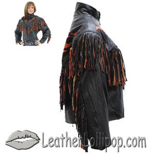 Ladies Leather Jacket With Orange Flames and Fringe - SKU LL-LJ259-DL