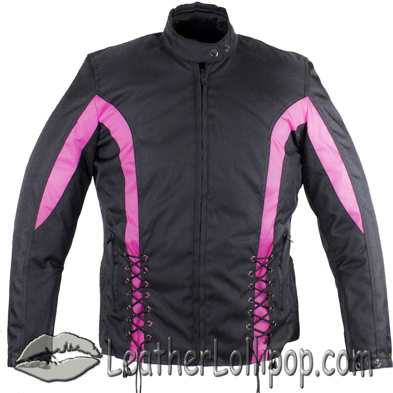 Ladies Textile Racing Jacket In Black and Pink - SKU LL-LJ266-CCN-PINK-DL