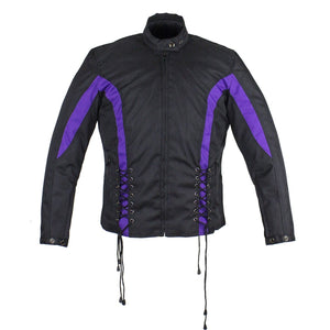 Ladies Textile Racing Jacket In Black and Purple - SKU LL-LJ266-CCN-PURP-DL - Leather Lollipop