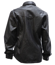 Ladies Black Leather Shirt with Snap Closure - SKU LL-LJ276-BLK-DL