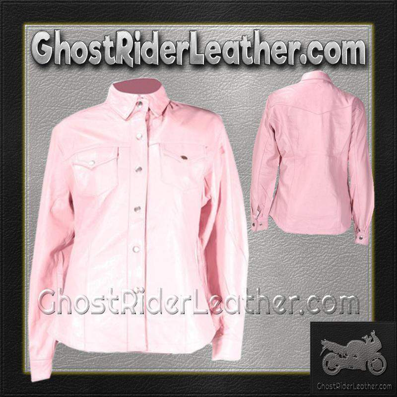 Ladies Pink Leather Shirt with Snap Closure / SKU GRL-LJ276-PINK-GRL-DL