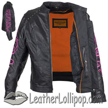 Ladies Racer Leather Jacket With Studs and Hot Pink Sleeve Design - SKU LL-LJ7018-HOTPINK-11-DL