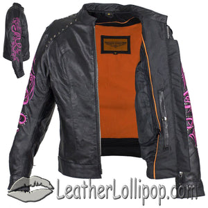 Ladies Racer Leather Jacket With Studs and Hot Pink Sleeve Design - SKU LL-LJ7018-HOTPINK-11-DL - Leather Lollipop