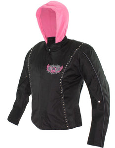 Ladies Textile Jacket In Black and Pink With Hoodie and Skull and Wings - SKU LL-LJ7027-CC-EBL10-PINK-DL - Leather Lollipop
