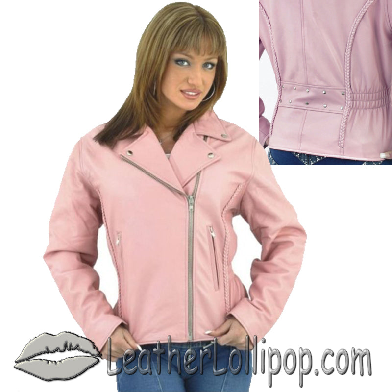 Womens Pink Leather Motorcycle Jacket - SKU LL-LJ710PINK-DL
