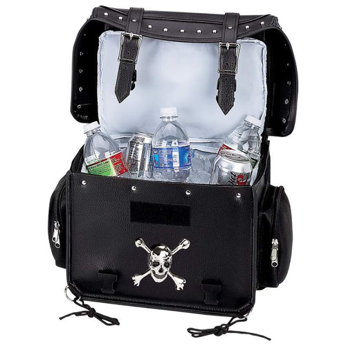 Diamond Plate Motorcycle Trunk Cooler Bag with Skull - SKU LL-LUMCOOL-BN