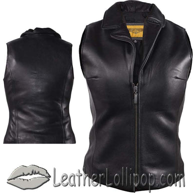 Classic Style Ladies Leather Vest with Zipper Front Closure - SKU LL-LV444-DL - Leather Lollipop