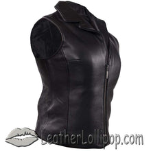 Classic Style Ladies Leather Vest with Zipper Front Closure - SKU LL-LV444-DL