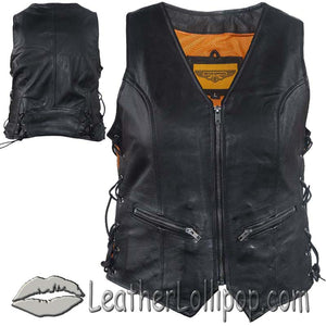 Ladies Leather Vest with Side Laces and Concealed Carry Pocket - SKU LL-LV8509-DL - Leather Lollipop