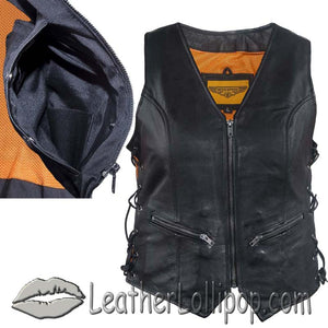 Ladies Leather Vest with Side Laces and Concealed Carry Pocket - SKU LL-LV8509-DL
