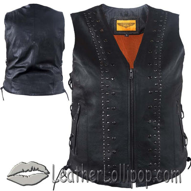 Ladies Leather Motorcycle Vest with Satin Nickel Studs - SKU LL-LV8510-DL - Leather Lollipop