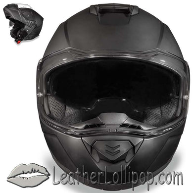 DOT Daytona Glide Modular Motorcycle Helmet in Dull Flat Black - SKU LL-MG1-B-DH