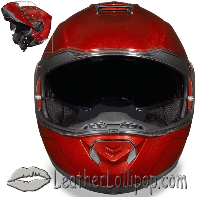 DOT Daytona Glide Modular Motorcycle Helmet in Black Cherry Metallic - SKU LL-MG1-BC-DH