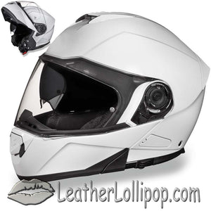 DOT Daytona Glide Modular Motorcycle Helmet in Gloss White - SKU LL-MG1-C-DH