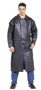 Mens Black Premium Cowhide Leather Duster Coat - SKU LL-MJ600-11-DL