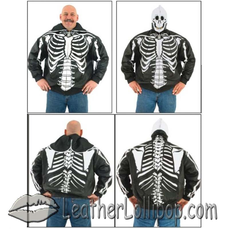 Mens Leather Motorcycle Jacket with Complete Skeleton Design and Hoodie - SKU LL-MJ701-09-DL - Leather Lollipop