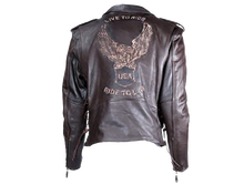 Classic Style Motorcycle Jacket with Side Laces and Live To Ride - SKU LL-MJ703-SS-DL