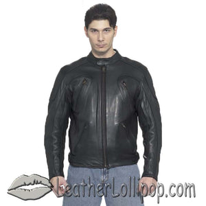 Mens Motorcycle Racer Jacket with Adjustable Side Straps - SKU LL-MJ720-DL