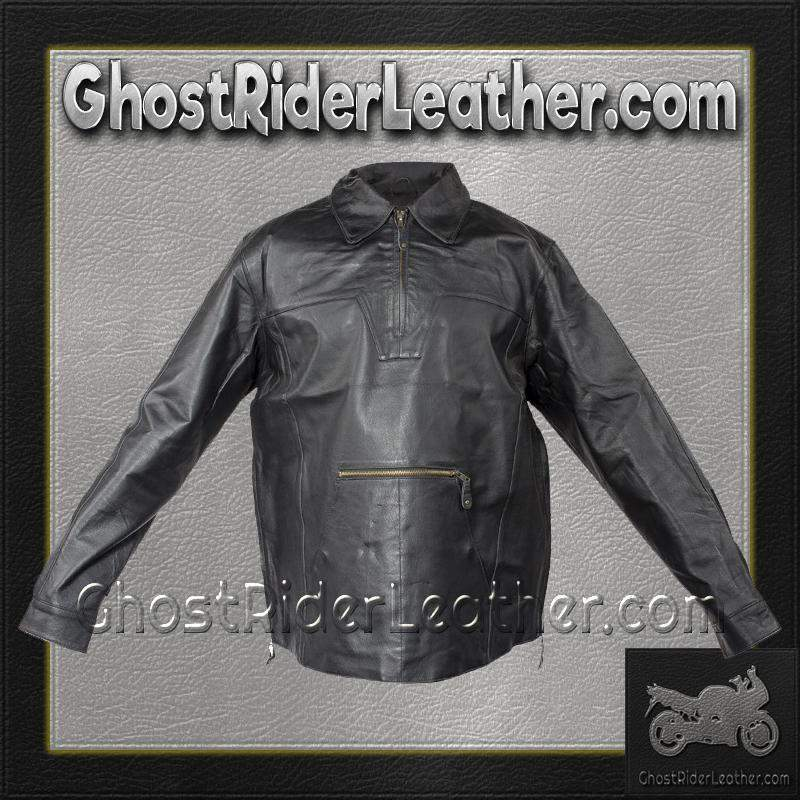 Mens Pullover Leather Shirt with Zipper Sides / SKU GRL-MJ770-DL