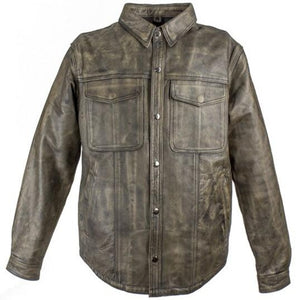 Mens Distressed Brown Leather Shirt with Concealed Carry Pockets - SKU LL-MJ777-12L-DL - Leather Lollipop
