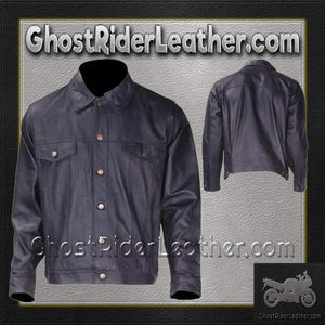 Mens Leather Shirt with Button Closure / SKU GRL-MJ778-DL - Leather Lollipop
