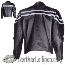 Mens Motorcycle Racer Jacket with Silver Stripe - SKU LL-MJ779-SIL-DL