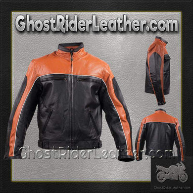 Mens Motorcycle Racer Leather Jacket  in Orange and Black / SKU GRL-MJ780-ORG-DL