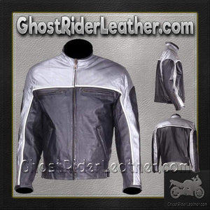Mens Motorcycle Racer Leather Jacket  in Silver and Black / SKU GRL-MJ780-SLV-DL - Leather Lollipop