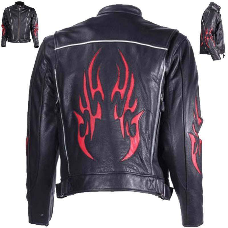Mens Leather Racer Jacket with Red Flames and Reflective Piping - SKU GRL-MJ782-DL