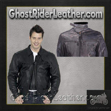 Vented Racer Leather Jacket with Convertible Collar / SKU GRL-MJ786-DL
