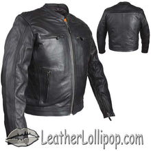 Mens Motorcycle Racer Jacket with Cool Diamond Pattern - SKU LL-MJ821-DL