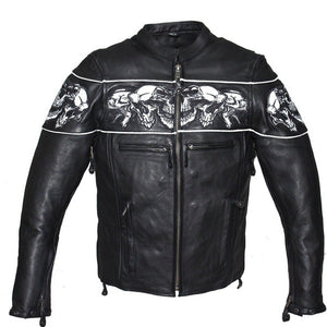 Racer Leather Jacket with Reflective Skulls and Concealed Carry Pocket - SKU LL-MJ825-11-DL - Leather Lollipop