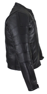 Black Pleated Racer Leather Jacket with Concealed Carry Pockets - SKU LL-MJ828-DL