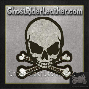 Gray Monster Skull Crossbones Patch / SKU GRL-MK4-DL