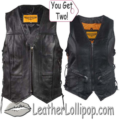 His and Hers Zipper Front Premium Leather Vests With Side Laces - SKU LL-MV310-ZIP-11-LV8509-DL