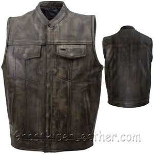 Mens SOA Style Motorcycle Club Vest in Distressed Brown / SKU GRL-MV320-ZIP-12-DL