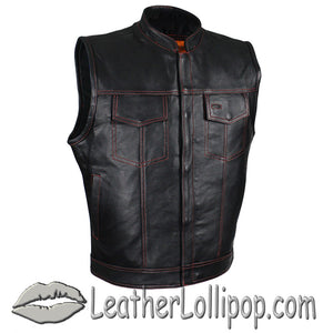 Mens SOA Style Club Naked Leather Vest in Black With Red Stitching - SKU GRL-MV320-ZIP-RT-11-DL - Leather Lollipop